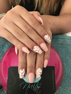 Nails art, acrylic nails, nude nails, flower nails