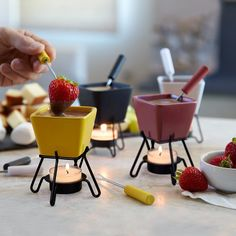 Mini Fondue Set Serve warm appetizers and desserts in these colorful clay fondue pots with tealight metal stands Set includes 4 square singleserving ceramic pots Assorted. Cute Kitchen, Kitchen Items, Warm Appetizers, Italian Hot, Gluten Free Puff Pastry, Deco Table, Food Presentation, Clean Eating Snacks, Cool Kitchens