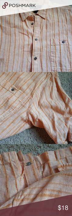 Linen button front short sleeve shirt Tangerine/coral color. With darker strips of same color tone  running vertically. Button front. With left brest pocket. Made of linen so nice light shirt for summer. This shirt has never been worn just hanging in closet Andrew Fezza Shirts Casual Button Down Shirts