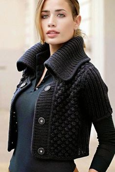 Knitted Sweaters Cardigans for Women Knitwear Fashion, Knit Fashion, Sweater Fashion, Gilet Crochet, Knit Crochet, Pullover Mode, Mode Crochet, Knitting Designs, Crochet Clothes