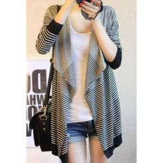 $5.76 Stylish Loose Fitting Large Collar Stripe Long Sleeve Knitting Cardigan for Women