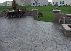 Stamped Concrete - would love instead of a deck! Stamped Concrete - would love instead of a deck! Small Backyard Patio, Backyard Patio Designs, Diy Patio, Patio Ideas, Landscaping Ideas, Pergola Patio, Backyard Ideas, Pergola Plans, Pergola Kits