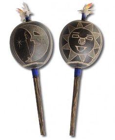 Peruvian Amazon Gourd Rattle - Moon/Sun - Rattles - Music Makers