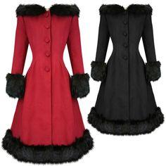 Hell Bunny Elvira Dramatic Statement Long Hooded Vintage Fur Collar Winter Coat