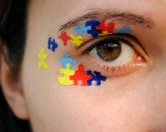 So fun for an Autism Awareness event ... good look for SAABA!   Autism Awareness Puzzle Piece Eye 85x11 by BrandiMillerArt on Etsy, $10.00