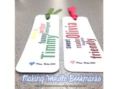 How to Make Wordle Bookmarks - great for end of the year gifts - or as an authentic extension to a lesson on adjectives or character traits