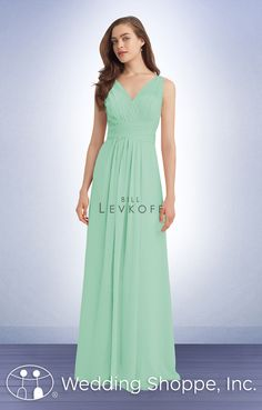 Bill Levkoff 1115: A classic and timeless long chiffon bridesmaid dress with v-neckline.