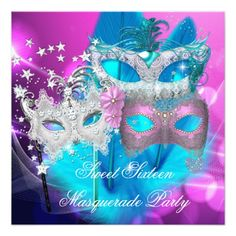 Shop Masquerade Sweet 16 Pink Purple Teal Mask Invitation created by Zizzago. Birthday Party Images, Birthday Party For Teens, Birthday Cards For Women, Sweet 16 Birthday, 16th Birthday, Birthday Bash, Birthday Cakes, Happy Birthday, Masquerade Party Invitations