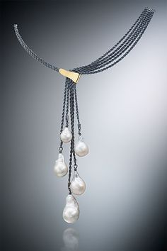 Five Pearl Necklace by Suzanne Schwartz: Gold, Silver & Pearl Necklace available at www.artfulhome.com