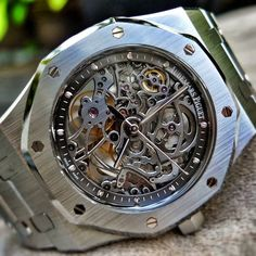 Audemars Piguet -Royal Oak Skeleton in a rugged stainless steel case is a pretty timepiece for any occasion.