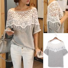 Lace Cutout Shirt Women Handmade Crochet Cape Collar Batwing Sleeve T-shirt Diy Clothing, Sewing Clothes, Diy Fashion, Ideias Fashion, Fall Fashion, Fashion Online, Fashion Trends, Cutout Shirts, Diy Kleidung