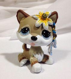 Littlest pet shop Dog * Sand Wolf * LPS Custom Hand Painted Husky OOAK #Hasbro