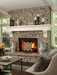 manteau de cheminée style traditionnel, parement en pierre