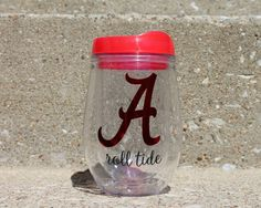 Do you have Alabama school spirit? Love convenience? Love glassware thats portable and durable!? Well today is your lucky day! The Bev2Go stemless wine acrylic tumbler is perfect for taking to the lake, cookouts, the beach, tailgating, the pool or anywhere you need to take your beloved beverage. Order here: https://www.etsy.com/listing/487019149/university-of-alabama-roll-tide?ref=shop_home_active_15