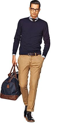 Blue V neck pullover + brown tie + light blue shirt + camel pants