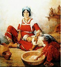 Algérie - Peintre Belge  EMILE DECKERS (1885-1968), Huile sur toile, titre : Préparation du couscous Empire Ottoman, Islamic World, Gaston, Female Art, Vintage Photos, Art Drawings, African, Gallery, Painting