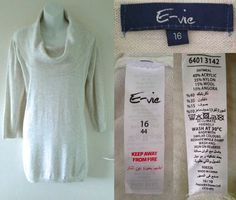 2010's (Oct 2010) EVIE Cream Oatmeal Angora Wool Mix Fine Knit Long Jumper Top Womens Ladies 16 44  02.21