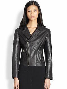 Bec & Bridge Ribbed Paneled Leather Moto Jacket