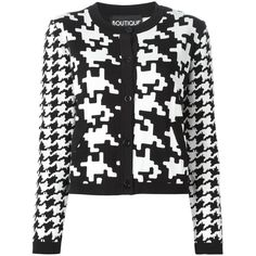 Boutique Moschino houndstooth cropped jacket ($785) ❤ liked on Polyvore featuring outerwear, jackets, black, houndstooth jacket, black cropped jacket, hounds tooth jacket, black jacket and cropped jacket