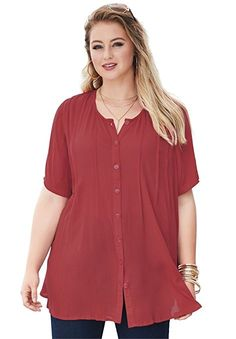 5d0246cacb1843 Roamans Women's Plus Size Angelina Tunic Red Ochre,12 W Tunic Shirt, Tunic  Tops