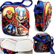"Marvel Avengers 3D  10.5"" x 8.5"" x 3.5"" Insulated LUNCH BAG w/ Adjustable Strap  