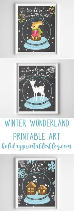 Winter Printable Art | Winter Wonderland | Snow Printables | Free Printable Art | Whimsical | Snowglobe Printables | Woodland Printables