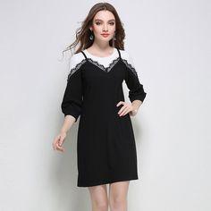 Spliced 2 in 1 Three Quarter Sleeve Dress Women Plus Size Dresses l to 5xl