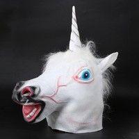Latex Unicorn Mask Cosplay Animal Cover Halloween Costume Mask Theater Prop Gangnam Style Toys