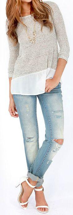 Chiffon & Knit Sweater