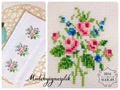 İnstagram / madebyigneiplik Crossstitch floral towel