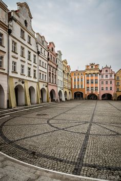 The houses on the marketplace in Jelenia Gora, Poland