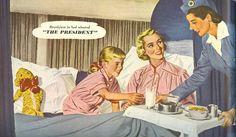 """Breakfast in bed aboard The President"" - Pan Am advertising, 1951"