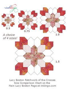 Size Comparison for Lucy Boston Patchwork of the Crosses on the All About Inklingo blog