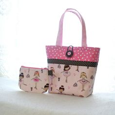 Cute Ballerina Fabric Little Girls Purse Coin Purse Set Mini Tote Bag Childs Purse with Wallet Kids Bag Ballet Dancers Pink Glitter Tutu MTO Drawstring Bag Diy, Sac Lunch, Denim Tote Bags, Handmade Purses, Craft Bags, Bag Patterns To Sew, Quilted Bag, Girls Bags, Cotton Bag