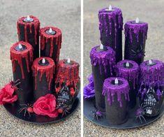 Purple Halloween, Halloween Ii, Cheap Halloween, Outdoor Halloween, Family Halloween, Halloween Projects, Halloween Gifts, Creepy Halloween Decorations, Halloween Candles