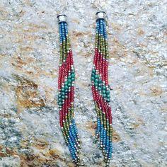Bohemian Beaded Earrings, Long Earrings, Seed Bead Earrings, Tribal Jewelry - pinned by pin4etsy.com