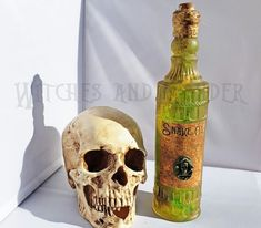 Items similar to Snake Oil Halloween Witches Kitchen Potion Bottle Decoration Green with Snakes, Skull/Snake Cameo, Cork top, Twine neck sealed w/Beeswax, on Etsy Halloween Potion Bottles, Kitchen Witch, Snakes, Eggs, Label, Apple, Oil, Decoration, Unique Jewelry