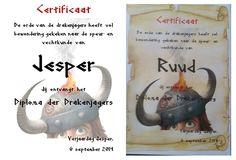 Diploma Drakenjager. Via Word gemaakt met watermerk. Op Perkamentpapier afgedrukt. Is verkrijgbaar via webshop Viking. Lettertype DS RUNE ENGLISH gebruikt.