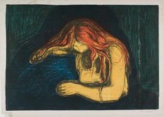 Edvard Munch. Vampire. Lithograph and woodcut.