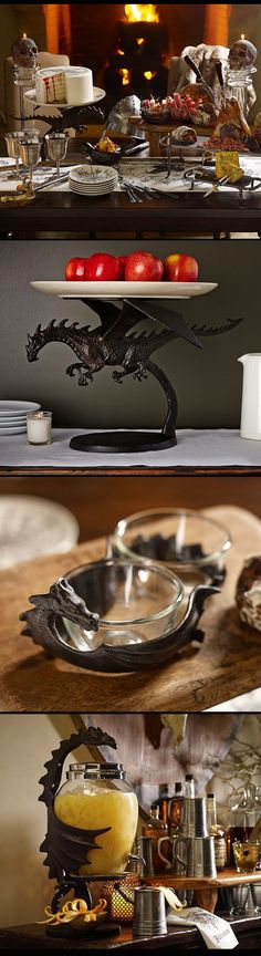 Pottery Barn has your all your 'Game of Thrones' dragon serving items.  A Halloween medieval Game of Thrones Gathering banquet!