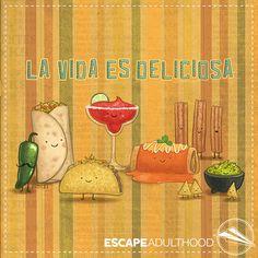 La Vida Es Deliciosa by Jason Kotecki #art #painting #mexican food #churros #jalapeno #gaucamole #margarita #enchiladas #fun #tacos