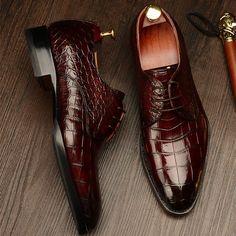 Formal Alligator Leather Lace Up Derby Dress Shoes for Men - Shoes For Woman Leather And Lace, Leather Shoes, Pu Leather, Patent Leather, Patent Shoes, Men's Shoes, Shoes Men, Gentleman Shoes, Derby Dress