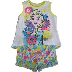 A great fashion outfit inspired by cartoons, this Disney licensed set is a perfect addition for her summery collection. The set includes a sleeveless tank top with Frozen character Elsa and flowery graphics, yellow piping and matching shorts that complete