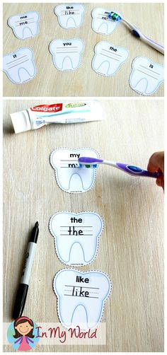 FREE Tooth brushing sight word write and wi… Community Helpers Preschool Centers. FREE Tooth brushing sight word write and wipe activity cards. Preschool Centers, Free Preschool, Preschool Lessons, Preschool Activities, Preschool Learning, Community Helpers Activities, Community Helpers Kindergarten, Kindergarten Literacy, Sight Word Activities