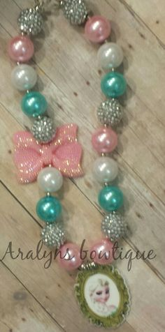 Elsa bubblegum bead chunky necklace by aralynsbows on Etsy
