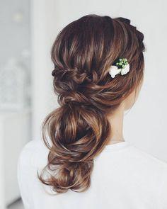 Tonya Pushkareva Long Wedding Hairstyle for Bridal via tonyastylist / http://www.himisspuff.com/long-wedding-hairstyle-ideas-from-tonya-pushkareva/17/