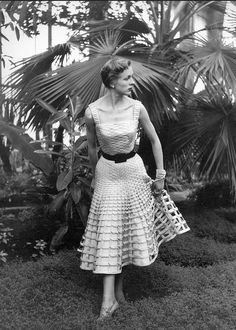 1950 ''Wicker Basket''Dior's dance-dress made of criss-cross strips of cloth, photo by Maywald