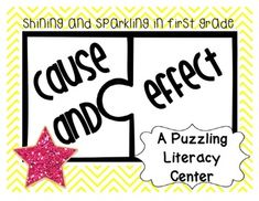 This engaging literacy center helps students learn about cause and effect by having them match puzzle pieces. Each puzzle piece contains a cause or an effect which must be matched with the corresponding cause or effect. This 10-page literacy center contains a colorful cover page to display with the center, student directions, 20 cause and effect puzzle pieces, and a recording sheet.