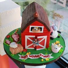 Barn and farm animal birthday cake