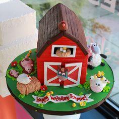 Barn and farm animal birthday cake